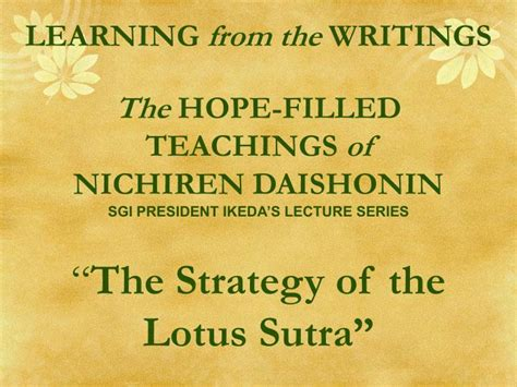 The Strategy Of The Lotus Ppt Learning From The Writings The Filled Teachings