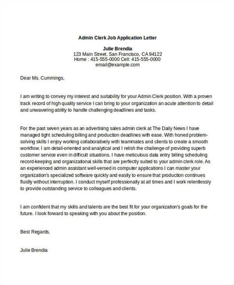 application letter clerk 40 application letters format free premium templates