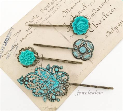 Vintage Wedding Hair Slides by Teal Wedding Floral Hair Pins Turquoise Aqua Blue Flower