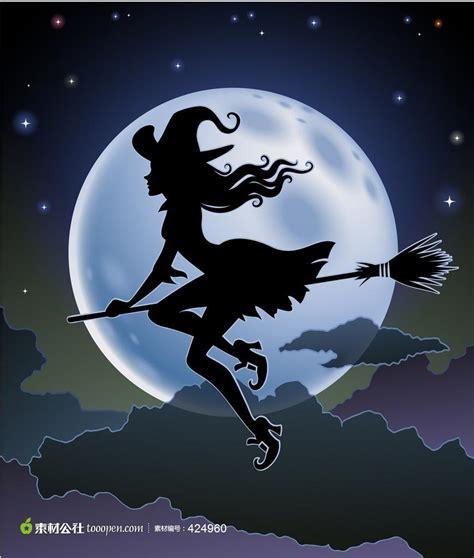 imagenes de brujas volando halloween 月前骑扫把飞行的女巫 素材公社 tooopen com