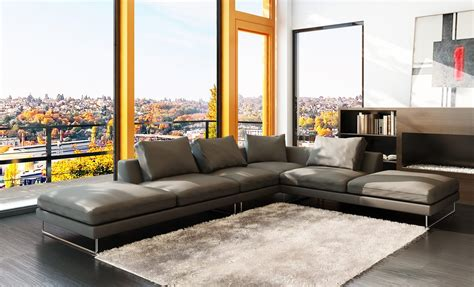 gray modern sectional 5051 modern grey leather sectional sofa