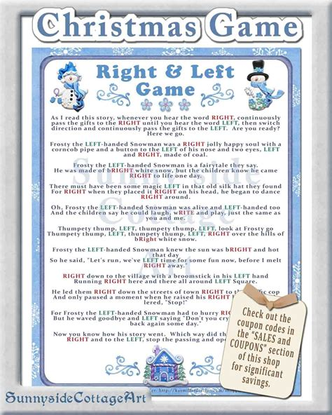 right left frosty the snowman gift exchange right and left story by sunnysidecottageart