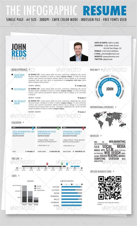 Clean Infographic Resume Print Ad Templates Infographic Resume Template Free