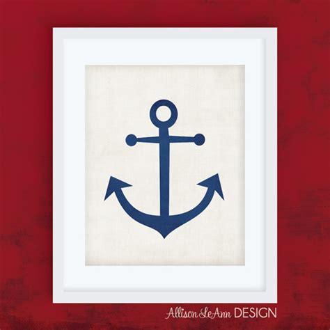 printable anchor wall art items similar to blue anchor printable wall art 8x10