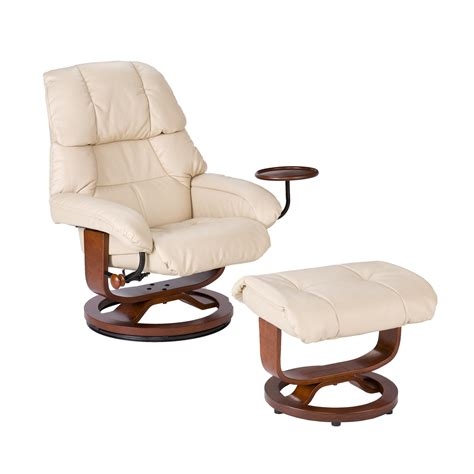 leather recliner chair with footstool view larger