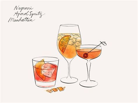 manhattan drink illustration negroni aperol spritz manhattan illustrated drinks
