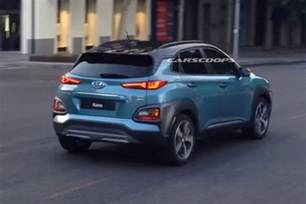 metallic blue hyundai kona suv spied during tvc shoot