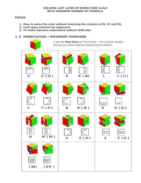 coding last solution minimum formula for 3 x3x3 rubik cube solution last