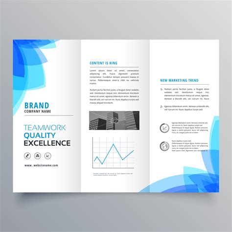 Trifold Brochure Template Design With Abstract Blue Shapes Download Free Vector Art Stock Free Brochure Design Templates