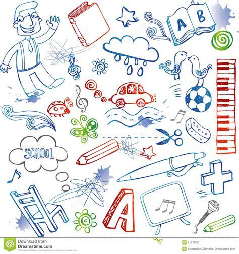item doodle draw school doodles vector set stock vector illustration of