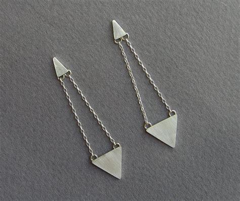 Geometric Earrings triangles dangle earrings geometric jewelry sterling