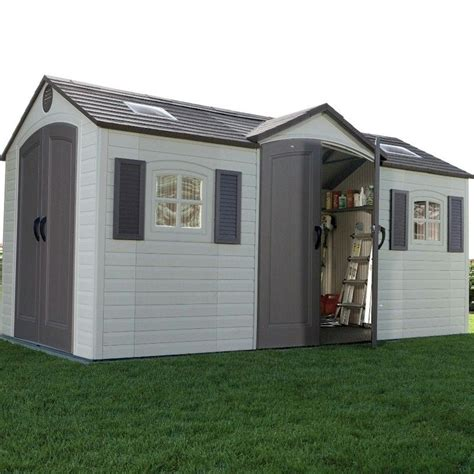 lifetime apex dual entry plastic shed   garden
