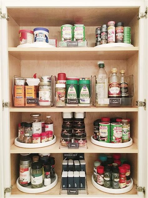 Spice Rack For Lazy Susan Cabinet white kitchen pantry with 3 tier spice shelves and acrylic snack bar bins transitional kitchen