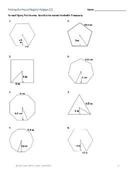 Worksheet 11 6 Apothem And Area Worksheet Answers regular polygons finding apothem central angle area 6