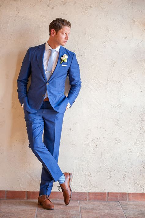 wearing a royal blue suit for wedding my wedding ideas dapper groom in royal blue suit with saddle color shoes