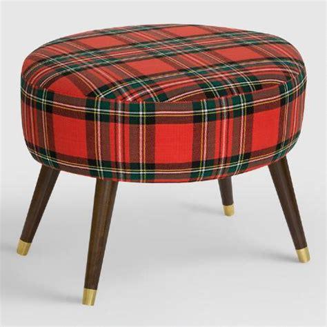 Oval Ancient Stewart Plaid Upholstered Ottoman World Market Cost Plus Ottoman