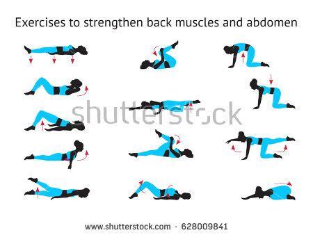 exercises strengthen back muscles abdomen stock vector 628009841