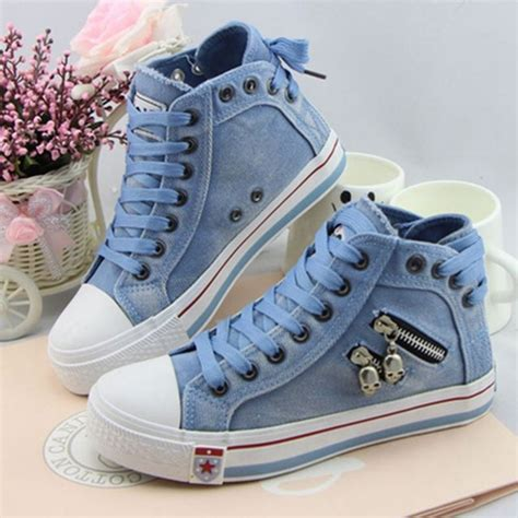 Powell Blue Sneakers Sepatu Casual Canvas aliexpress buy 2017 s vulcanize shoes elevator denim canvas shoes s high
