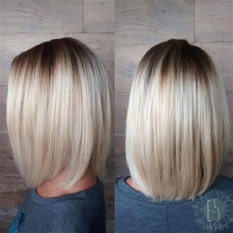 blonde bob dark roots platinum blonde long bob with root shadow hair by beckie