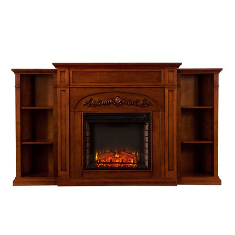electric fireplace with bookcases 72 5 quot chantilly bookcase electric fireplace autumn oak
