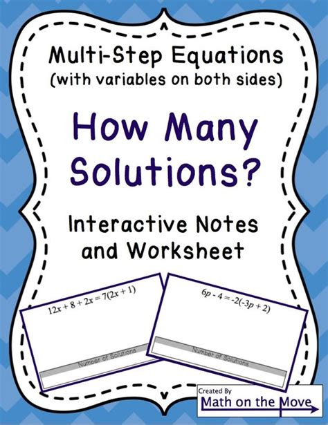 Multi Step Equations Worksheet Variables On Both Sides by Equations Variables On Both Sides How Many Solutions