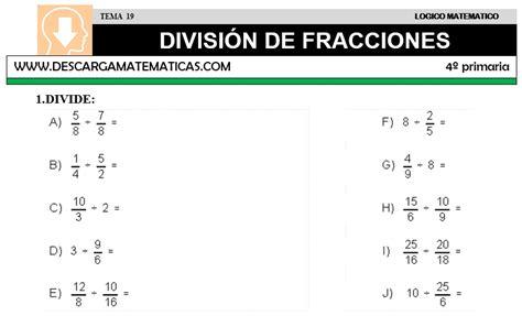 ejercicios de fracciones de cuarto de primaria descargar division de fracciones matematica cuarto de
