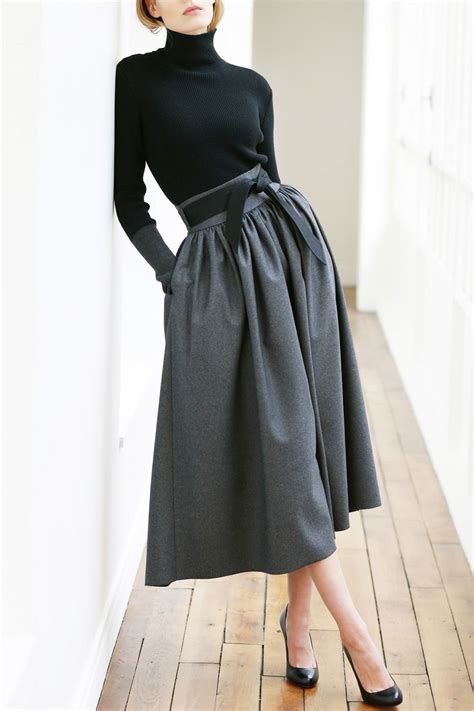 martin grant high waisted skirt with belt in blue lyst