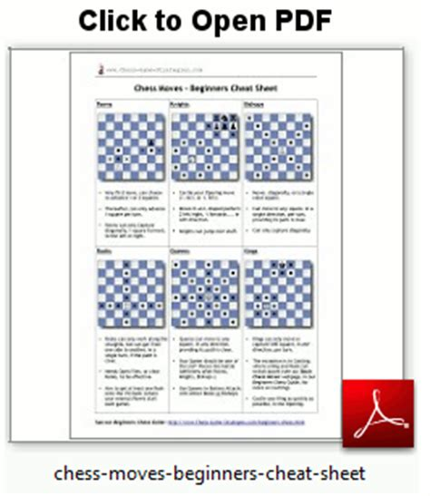 printable chess instructions beginners pdf cheat sheet beginners chess moves chess