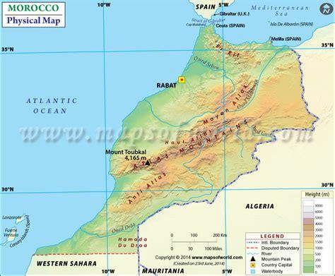 physical map of morocco physical map of morocco