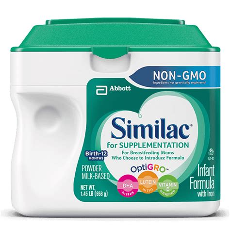 supplementing 1 feeding with formula similac 174 for supplementation non gmo supplementing with