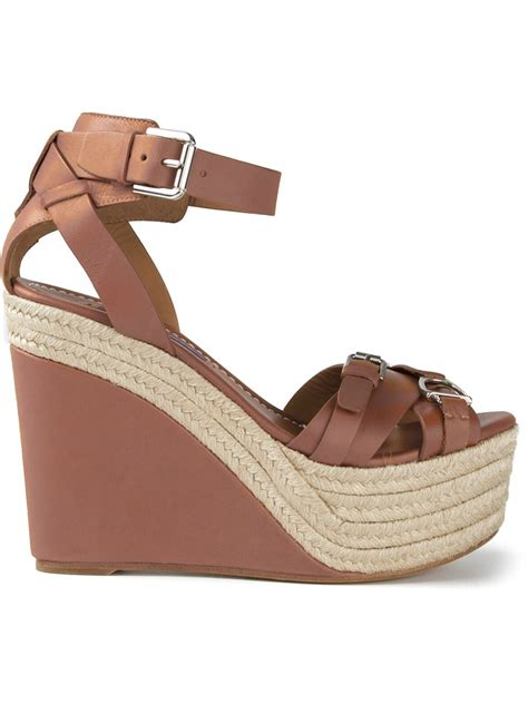 sandal wedges ralph wedge sandals in brown lyst