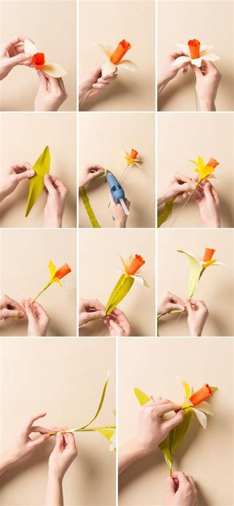 How To Make Paper Daffodils - how to make a paper flower daffodil paperblog