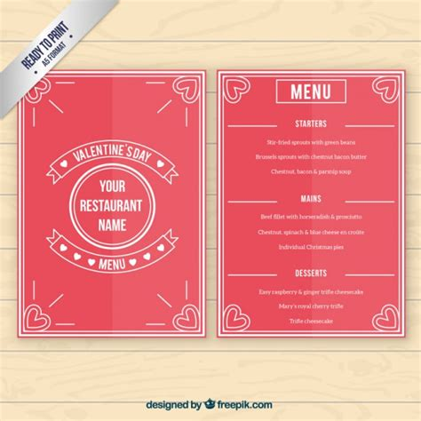 valentines menu template day menu template vector free