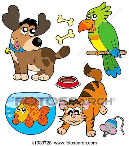 stock illustration of cartoon pets collection k1933728