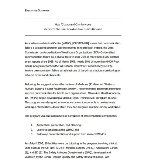 executive summary report template free 31 executive summary templates free sle exle