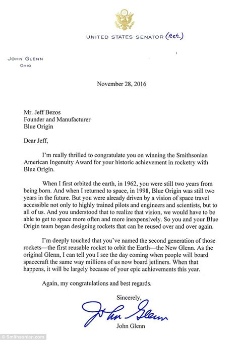 Explanation Letter For Not Attending Founder Jeff Bezos Received Letter From Glenn On Same Day He Away Daily