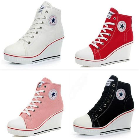 fashionable sneakers for popular shoes canvas high top wedge heel lace up fashion