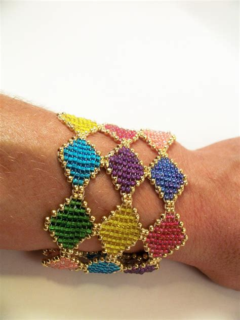 beaded cuff bracelet tutorial stained glass bracelet cuff pattern beading tutorial in pdf