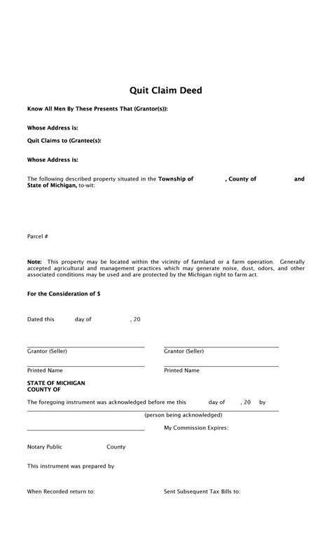 quitclaim deed template 46 free quit claim deed forms templates template lab