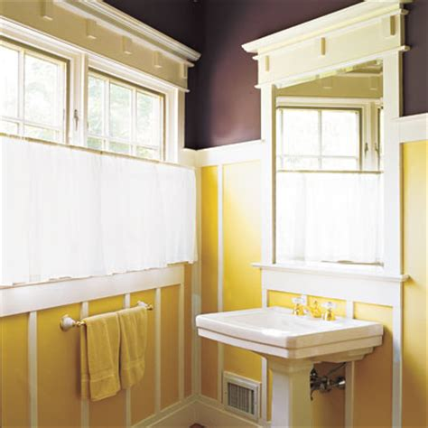 eggplant and sunny are paint colors in this bathroom