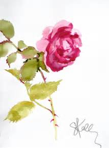 water color flowers another look pink stem watercolor flower by