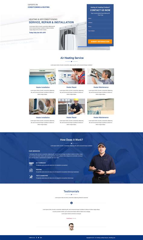 Ac Heating Html Template Theme With Free Builder Designed For Air Conditioning Heating And Air Conditioning Website Templates