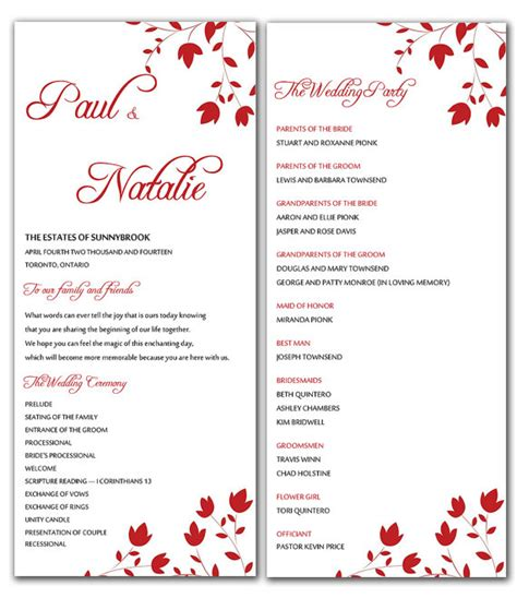 free wedding program template word diy flowers wedding program microsoft word