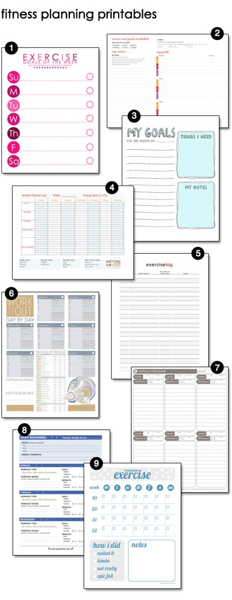 printable fitness planner free planning to get fit design finch