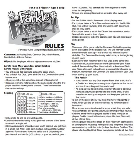 printable yahtzee rules farkle score rules sheet games pinterest scores