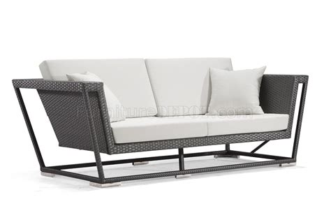 Black Weave Modern Outdoor Patio Sofa W White Cushions