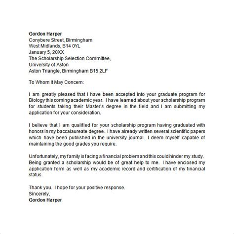 scholarship cover letter template application letter 9 free doc