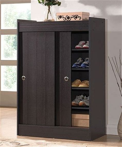Shoe Closet With Doors Brown Sliding Doors And On