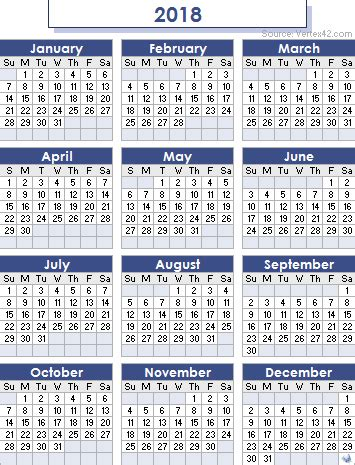 Calendars That Work For 2018 2018 Calendar Free Excel Templates