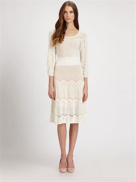 Chaterine Dress lyst catherine malandrino pointelle knit dress in white